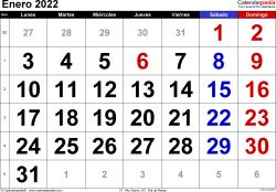 Calendario enero 2022, orientación horizontal, grandes cifras, en formatos Word, Excel y PDF