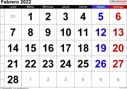 Calendario febrero 2022, orientación horizontal, grandes cifras, en formatos Word, Excel y PDF