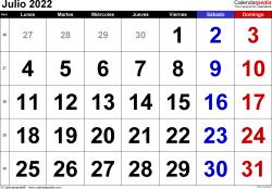 Calendario julio 2022, orientación horizontal, grandes cifras, en formatos Word, Excel y PDF