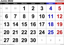 Calendario junio 2022, orientación horizontal, grandes cifras, en formatos Word, Excel y PDF