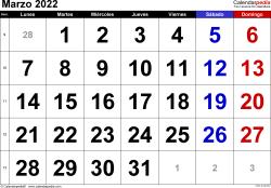 Calendario marzo 2022, orientación horizontal, grandes cifras, en formatos Word, Excel y PDF