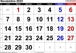 Calendario noviembre 2022, orientación horizontal, grandes cifras, en formatos Word, Excel y PDF