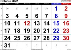 Calendario octubre 2022, orientación horizontal, grandes cifras, en formatos Word, Excel y PDF