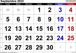 Calendario septiembre 2022, orientación horizontal, grandes cifras, en formatos Word, Excel y PDF