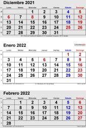 Calendario de 3 meses de diciembre2021, enero2022 y febrero2022 in orientación vertical en formatos Word, Excel y PDF