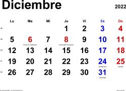 Calendario diciembre 2022, orientación horizontal, clásico, en formatos Word, Excel y PDF