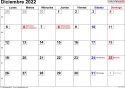 Calendario diciembre 2022, orientación horizontal, cifras pequeñas, en formatos Word, Excel y PDF