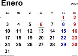 Calendario enero 2022, orientación horizontal, clásico, en formatos Word, Excel y PDF