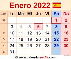 Calendario enero 2022 como una imagen en formato PNG