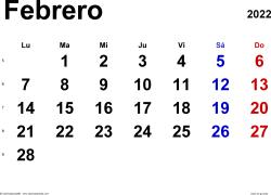 Calendario febrero 2022, orientación horizontal, clásico, en formatos Word, Excel y PDF