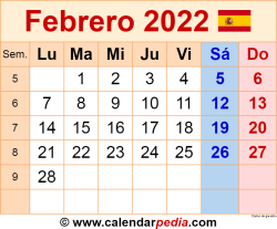 Calendario febrero 2022 como una imagen en formato PNG