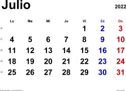 Calendario julio 2022, orientación horizontal, clásico, en formatos Word, Excel y PDF