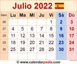 Calendario julio 2022 como una imagen en formato PNG
