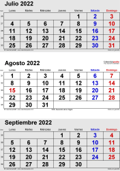 Calendario de 3 meses de julio/agosto/septiembre 2022 in orientación vertical en formatos Word, Excel y PDF