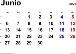 Calendario junio 2022, orientación horizontal, clásico, en formatos Word, Excel y PDF