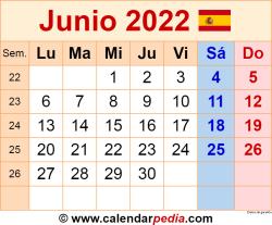 Calendario junio 2022 como una imagen en formato PNG