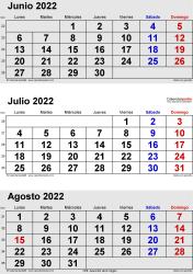 Calendario de 3 meses de junio/julio/agosto 2022 in orientación vertical en formatos Word, Excel y PDF