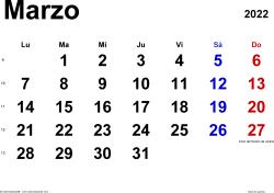 Calendario marzo 2022, orientación horizontal, clásico, en formatos Word, Excel y PDF