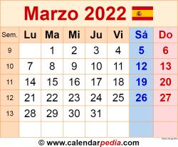 Calendario marzo 2022 como una imagen en formato PNG