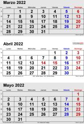 Calendario de 3 meses de marzo/abril/mayo 2022 in orientación vertical en formatos Word, Excel y PDF