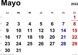 Calendario mayo 2022, orientación horizontal, clásico, en formatos Word, Excel y PDF