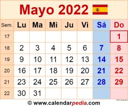 Calendario mayo 2022 como una imagen en formato PNG