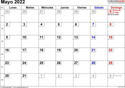 Calendario mayo 2022, orientación horizontal, cifras pequeñas, en formatos Word, Excel y PDF
