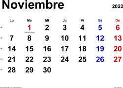 Calendario noviembre 2022, orientación horizontal, clásico, en formatos Word, Excel y PDF