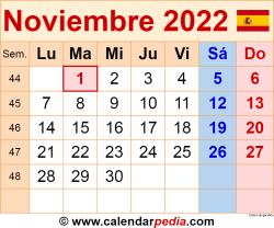 Calendario noviembre 2022 como una imagen en formato PNG