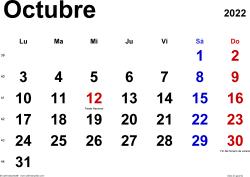 Calendario octubre 2022, orientación horizontal, clásico, en formatos Word, Excel y PDF