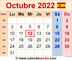 Calendario octubre 2022 como una imagen en formato PNG