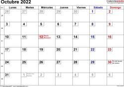 Calendario octubre 2022, orientación horizontal, cifras pequeñas, en formatos Word, Excel y PDF