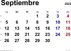 Calendario septiembre 2022, orientación horizontal, clásico, en formatos Word, Excel y PDF