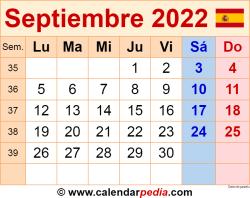 Calendario septiembre 2022 como una imagen en formato PNG