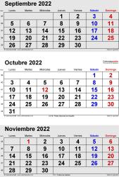 Calendario de 3 meses de septiembre/octubre/noviembre 2022 in orientación vertical en formatos Word, Excel y PDF