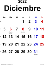 Calendario diciembre 2022, orientación vertical, clásico, en formatos Word, Excel y PDF