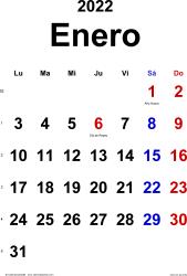 Calendario enero 2022, orientación vertical, clásico, en formatos Word, Excel y PDF
