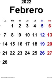 Calendario febrero 2022, orientación vertical, clásico, en formatos Word, Excel y PDF