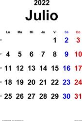 Calendario julio 2022, orientación vertical, clásico, en formatos Word, Excel y PDF