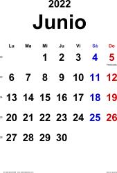 Calendario junio 2022, orientación vertical, clásico, en formatos Word, Excel y PDF