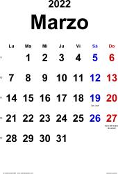 Calendario marzo 2022, orientación vertical, clásico, en formatos Word, Excel y PDF