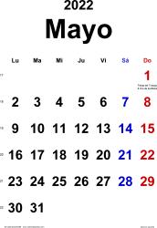 Calendario mayo 2022, orientación vertical, clásico, en formatos Word, Excel y PDF
