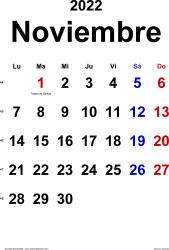 Calendario noviembre 2022, orientación vertical, clásico, en formatos Word, Excel y PDF