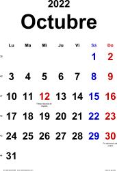 Calendario octubre 2022, orientación vertical, clásico, en formatos Word, Excel y PDF