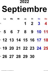 Calendario septiembre 2022, orientación vertical, clásico, en formatos Word, Excel y PDF