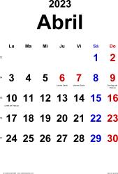 Calendario abril 2023, orientación vertical, clásico, en formatos Word, Excel y PDF