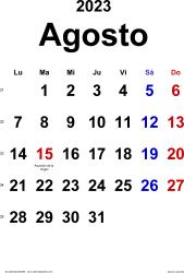 Calendario agosto 2023, orientación vertical, clásico, en formatos Word, Excel y PDF