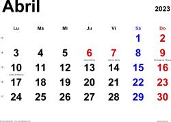 Calendario abril 2023, orientación horizontal, clásico, en formatos Word, Excel y PDF