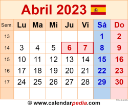 Calendario abril 2023 como una imagen en formato PNG