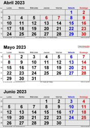 Calendario de 3 meses de abril/mayo/junio 2023 in orientación vertical en formatos Word, Excel y PDF